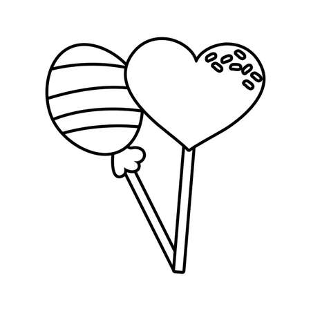sweet lollipops candy on white background vector illustration