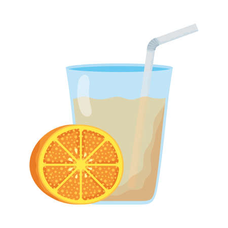 orange citrus fruit with juice glass vector illustration design