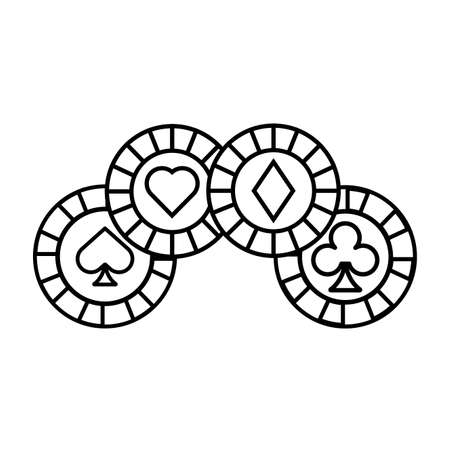 casino chips with poker figures vector illustration design