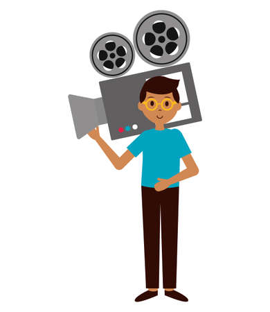 man with projector camera film production vector illustration