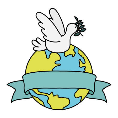 dove flying with olive branch and world planet vector illustration design Vettoriali
