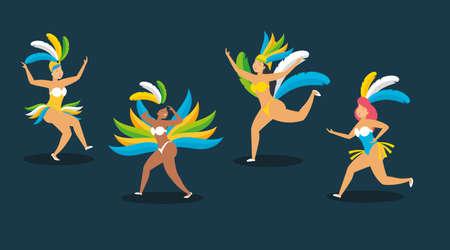 dancers costume feathers brazil carnival celebration vector illustration