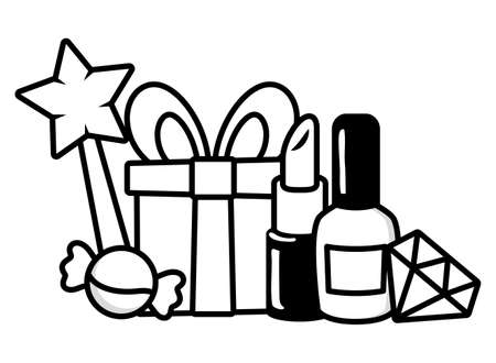 gift box diamond nail polish lipstick candy star pop art elements vector illustration