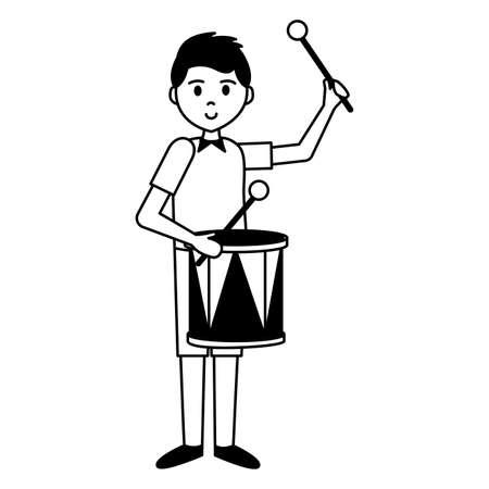 man playing drum carnival celebration vector illustration