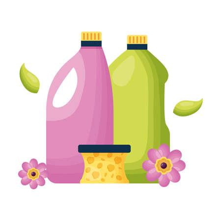 botltes sponge spring cleaning tools vector illustration Ilustración de vector