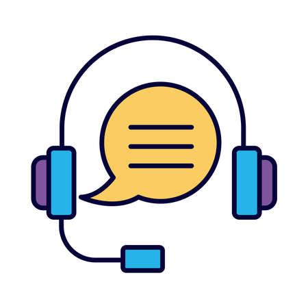 headset communication line and fill style icon vector illustration design Vektorové ilustrace