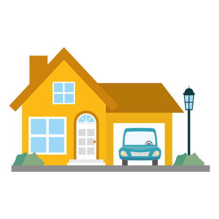 house property with car vector illustration design