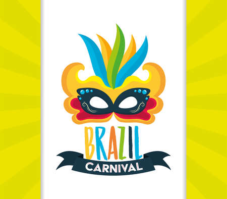 mask feathers brazil carnival festival celebration poster vector illustration