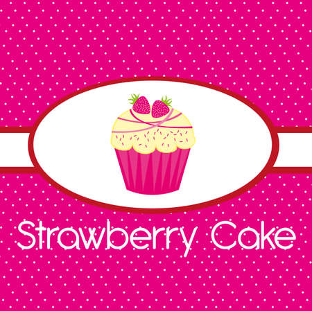 pink strawberry cake over pink background. vector