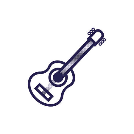 guitar musical instrument fill style icon vector illustration design