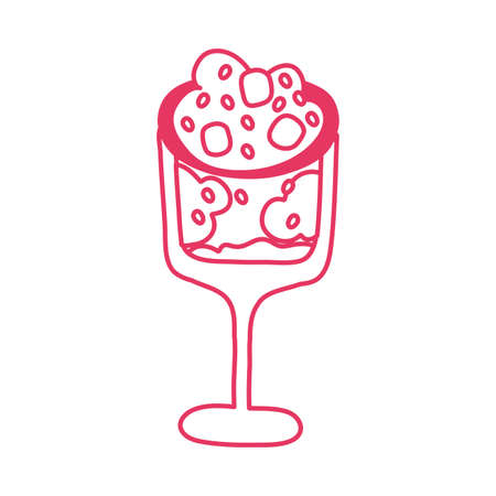 sweet cup with ice cream dessert vector illustration design Vettoriali