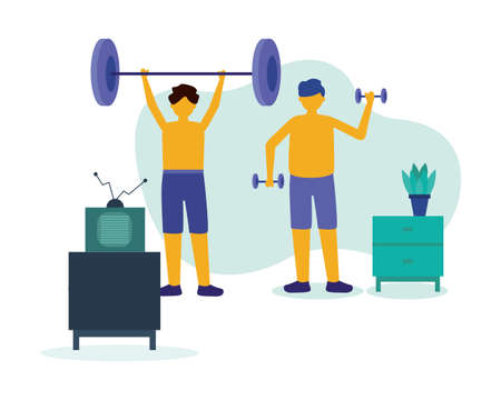 Men doing exercise with weights design of Stay at home theme Vector illustration