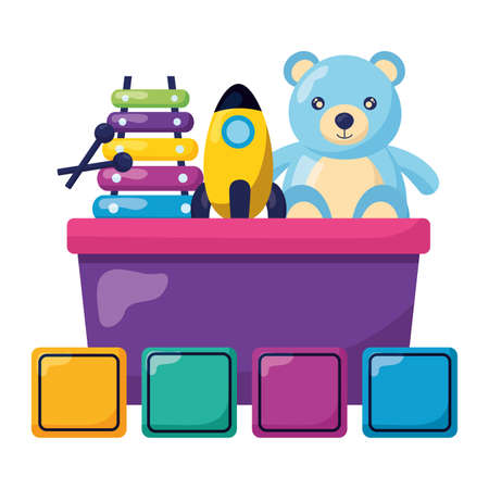 kids toys bucket with bear rocket xylophone cubes vector illustration Ilustrace