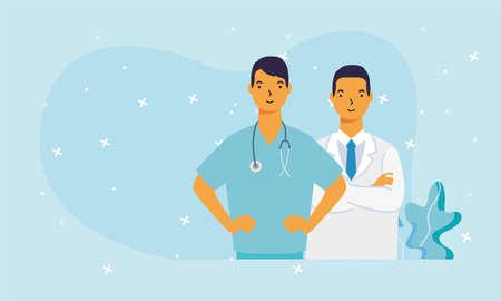 male doctors with uniforms design of medical care and covid 19 virus theme Vector illustration Ilustração