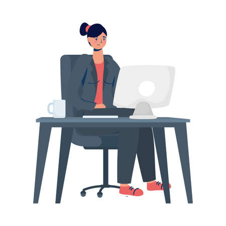 elegant business woman working in desktop vector illustration design