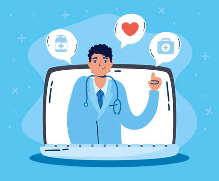 health online technology with laptop vector illustration design Vettoriali