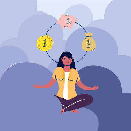 businesswoman in lotus position with economy icons vector illustration design