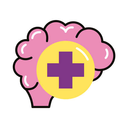 brain human with pluss symbol line and fill style icon vector illustration design