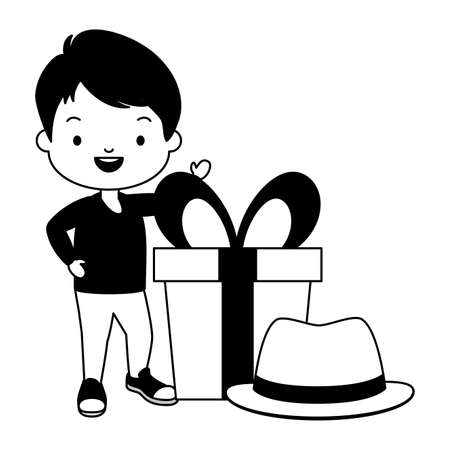 little boy gift and hat fathers day Illustration