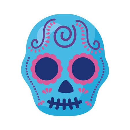 traditional mexican skull head detaild style vector illustration design