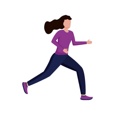 young woman running avatar character vector illustration design