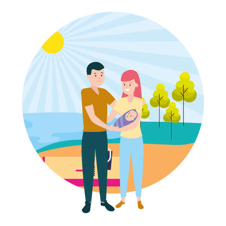mom dad and baby family outdoors vector illustration