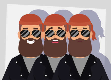 motorcyclist men with beard avatars characters vector illustration design Illustration