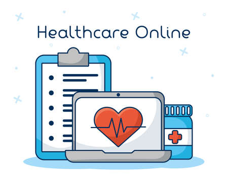 healthcare on line technology with laptop vector illustration design