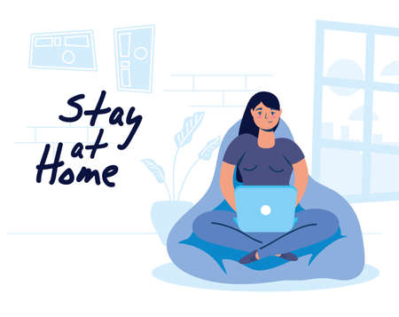woman using laptop in sofa vector illustration design Illustration