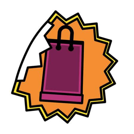 sale banner peel off paper sticker shopping bag vector illustration  イラスト・ベクター素材