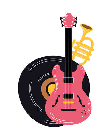 electric guitar and musical instruments vector illustration design Illustration