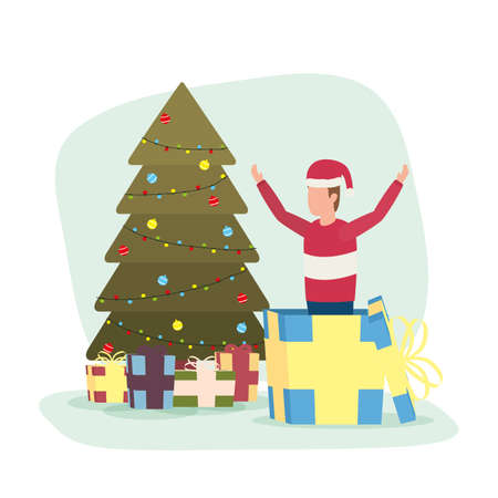 happy merry christmas boy celebrating with tree and gift vector illustration design