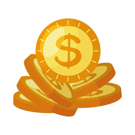 coins money dollars isolated icon vector illustration design