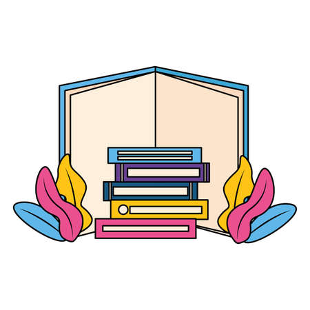 world book day stack books plant leaves vector illustration