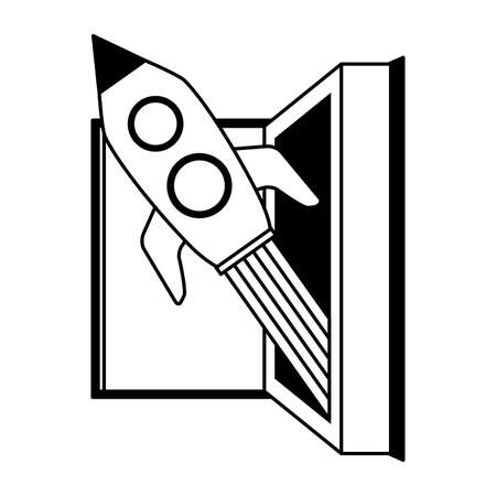 open book rocket - world book day vector illustration
