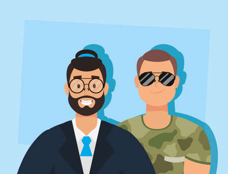 young man with beard fbi agent and military vector illustration design Illustration
