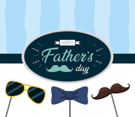 happy fathers day greeting card sunglasses mustache vector illustration Illustration