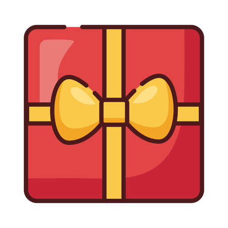 gift box present line and fill style icon vector illustration design