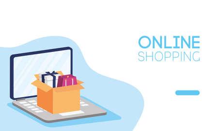 shopping online tech in laptop vector illustration design