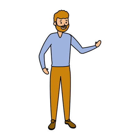 man adult character on white background vector illustration Vettoriali