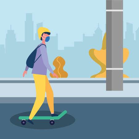 man with mask at skateboard design of medical care and covid 19 virus theme Vector illustration Ilustração