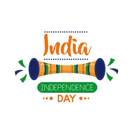 Independece day india celebration with trumpet flat style icon vector illustration design