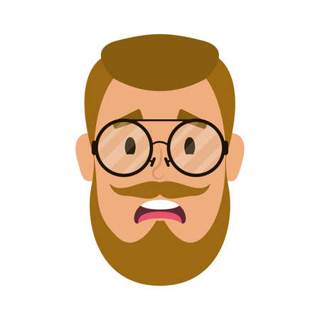 young man head with beard and eyeglasses vector illustration design Vettoriali