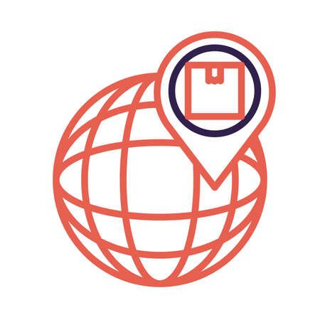 sphere planet browser with pin and box line style vector illustration design