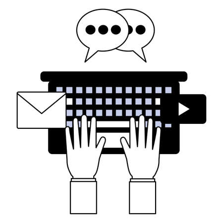 hands typing keyboard email chatting social media vector illustration Illustration