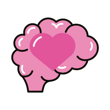 brain human with heart line and fill style icon vector illustration design Illustration