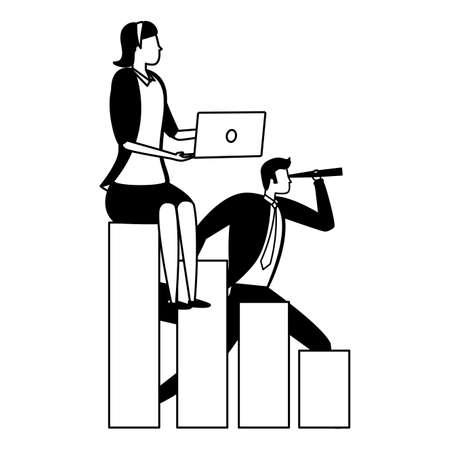businessman and woman chart laptop business success vector illustration Illusztráció