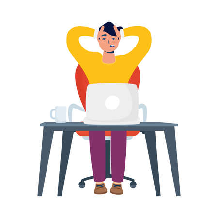 young man working with laptop in desk vector illustration design