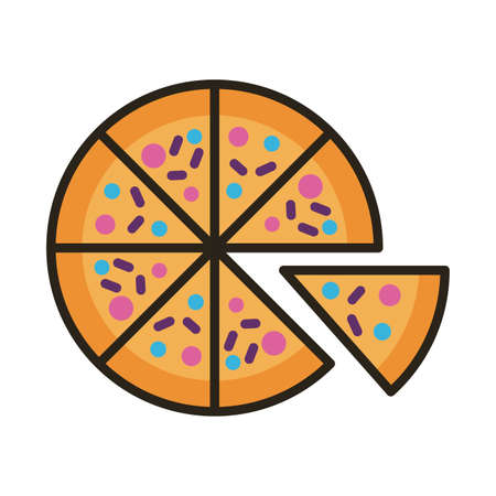 pizza food line and fill style icon vector illustration design