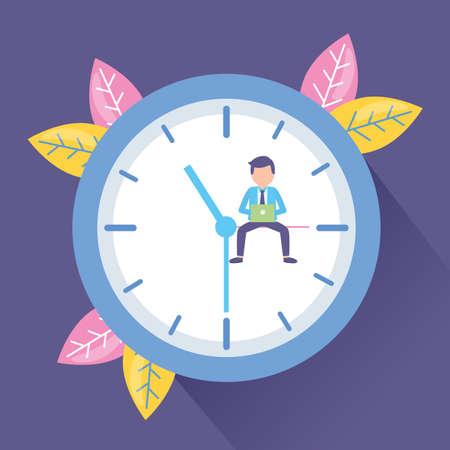 businessman laptop clock time work vector illustration